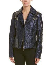 Elie Tahari Leather Jacket - Blue