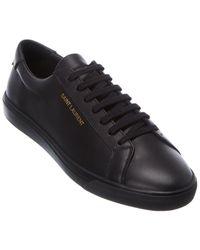 Saint Laurent Leather Sneaker - Black
