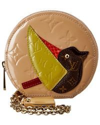 Louis Vuitton Beige Monogram Vernis Leather Porte Monnaie Oiseaux - Natural