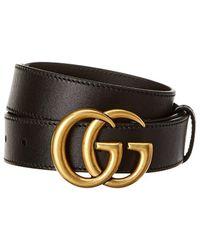 Gucci Double G Leather Belt - Black