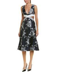 ABS By Allen Schwartz Abs Floral Jacquard Midi Dress - Blue