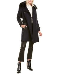 The Kooples Light Wool-blend Compact Coat - Blue