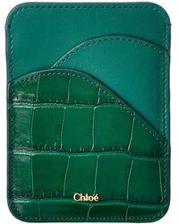 Chloé Walden Croc-embossed Leather Card Holder - Green