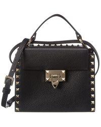 Valentino Rockstud Grainy Leather Shoulder Bag - Black