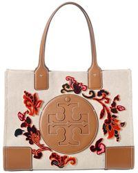 Tory Burch Mini Ella Fil Coupé & Leather Tote Bag - White