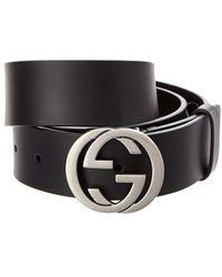 Gucci Interlocking G Leather Belt - Black