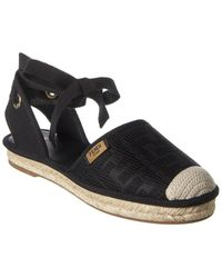Fendi Roma Ff Motif Canvas Ankle Wrap Espadrille - Black
