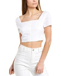 Sage the Label Harmony Linen-blend Crop Top - White