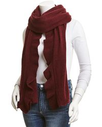 White + Warren Cashmere Ruffle Wrap - Red