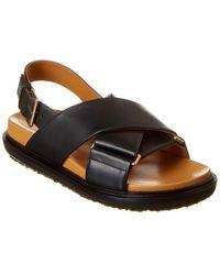 Marni Fussbet Criss Cross Leather Sandal - Black