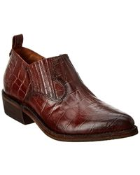 Frye Billy Croc-embossed Leather Shootie - Red