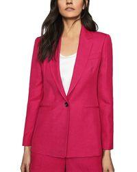 Reiss - Ada Bold Linen-blend Blazer - Lyst