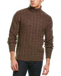 Loft 604 Wave Pattern Wool-blend Turtleneck Jumper - Brown