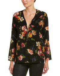 The Kooples Floral Print Silk Top - Black