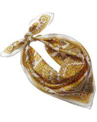 Versace Barocco Print Silk Neck Scarf - Metallic