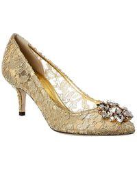 Dolce & Gabbana Bellucci 60 Embellished Taormina Lace Pump - Metallic