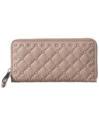 Valentino Rockstud Leather Zip Around Continental Wallet - Pink