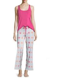 Josie Mesmerized Solid Tank And Printed Pant - Pink