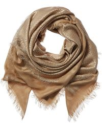 Burberry Large Monogram Silk & Wool-blend Square Scarf - Natural