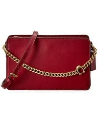 COACH Signature Chain Leather Crossbody - Red