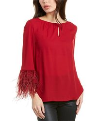 Vince Camuto Feather Sleeve Top - Red