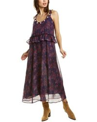 Figue Alina Silk Maxi Dress - Blue