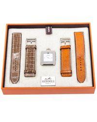 Hermès Stainless Steel Leather Belt & Watch Set - Metallic