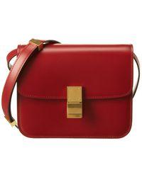 Celine Teen Classic Leather Shoulder Bag - Red