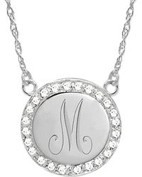 Jane Basch - 14k 0.12 Ct. Tw. Diamond Border Engraved Pendant Necklace - Lyst