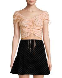 Jill Stuart Ruched Tie Crop Top - Black