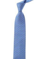 Ferragamo Blue Dragonflies Silk Tie