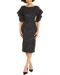 THEIA Brocade Midi Dress - Blue