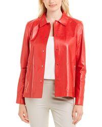 Lafayette 148 New York Jaren Leather Jacket - Red