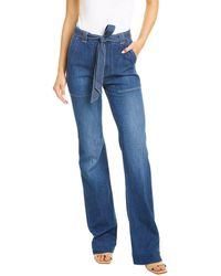 7 For All Mankind 7 For All Mankind Belted Dark Blue Wide Leg Jean