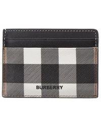 Burberry Check Print Leather Card Holder - Black