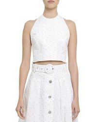 Rebecca Vallance Holliday Wrap Linen-blend Crop Top - White