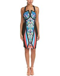 Wow Couture Sweetheart Printed Bandage Dress - Blue