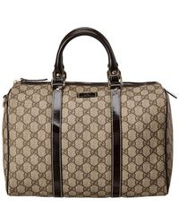 Gucci - Brown GG Supreme Canvas & Leather Joy Boston Bag - Lyst