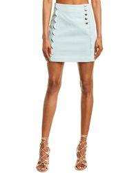 BCBGeneration Scalloped Denim Mini Skirt - White