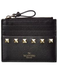 Valentino Garavani Rockstud Leather Card Holder - Black