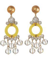 Lele Sadoughi 14k Plated Moonstone, Crystal, & Resin Earrings - Metallic