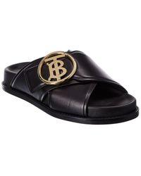 Burberry Tb Plaque Leather Sandal - Black