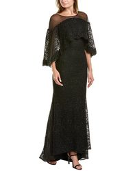 Mac Duggal Embroidered Lace Gown - Black