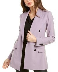 Theory Double-breasted Tailor Wool-blend Jacket - Purple