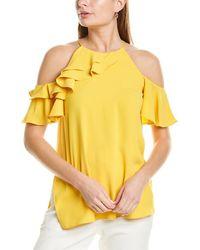 Halston Cold-shoulder Flounce Top - Yellow