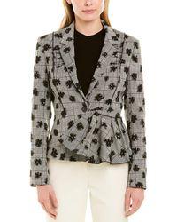 Jason Wu Floral Plaid Stretch Suiting Jacket - Black