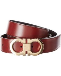Ferragamo Double Gancio Reversible & Adjustable Leather Belt - Red