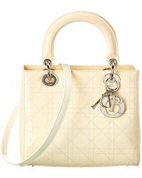 Dior Dior Cream Patent Leather Medium Lady Dior - Natural