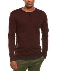 Vince Double Layer Henley - Red