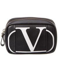 Valentino Vlogo Leather Pouch - Black